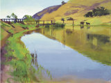 Reservoir with Two Cows Limited Edition by Marcia Burtt