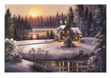 Winter Sunset Poster van Dubravko Raos