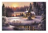 Puesta de sol invernal Pósters por Dubravko Raos