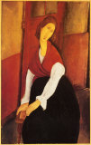 Jeanne Hebuterne in Red Shawl Poster by Amedeo Modigliani