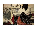 Los enamorados Pster por Utamaro Kitagawa