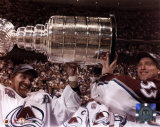 Ray Bourque and Patrick Roy - With Stanley Cup 6/9/01 Photo