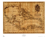 Caribbean Map, 1806, Art Print