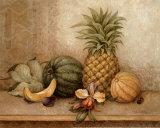 Ananas et orchidée - mini Posters par Pamela Gladding