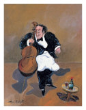 Cellist with Red Wine Posters by Guy Buffet