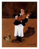 Violinist with Champagne Prints by Guy Buffet