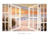 Coucher de soleil sur la plage Affiches par Diane Romanello