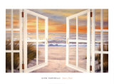 Sunset Beach, Hawaiian Blue Glass Plakater af Diane Romanello