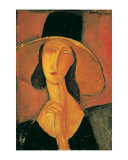 Portrait of a Woman (Jeanne Hebuterne) in Large Hat, c.1918 Prints by Amedeo Modigliani