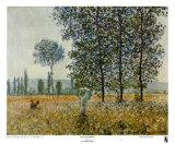 Campos en primavera Láminas por Claude Monet