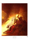 The Prophet Jeremiah Mourning over the Destruction of Jerusalem, 1630 Plakat af Rembrandt van Rijn