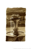Fountain Overlooking City Print by Chauve Auckenthaler