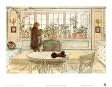Fleurs sur le rebord de la fenêtre Affiches par Carl Larsson