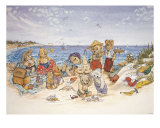 Jeux de plage pour la famille ours Affiches par Susan Anderson