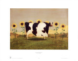 Cow With Sunflowers Prints by Thomas LaDuke