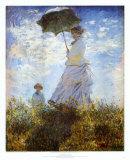 Der Spaziergang. Frau mit Sonnenschirm Kunst von Claude Monet