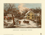 American Homestead Winter Art by Currier &amp; Ives 