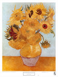 Jarrón con doce girasoles (Vase with Twelve Sunflowers, ca. 1889) Láminas por Vincent van Gogh