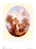 Amor zwischen Rosen Poster von Jean-Honoré Fragonard