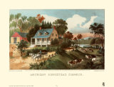 American Homestead Summer Art by Currier & Ives