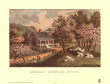 American Homestead Spring Prints by  Currier & Ives