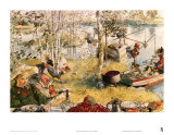 Crayfishing Print by Carl Larsson