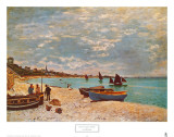 Beach at Sainte-Adresse Print by Claude Monet