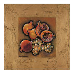 Pomegranates and Grapes Art Print by Karel Burrows