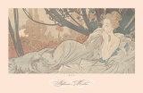 Dusk Print by Alphonse Mucha