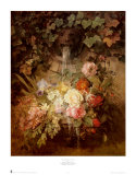 Flowers under a Lion Fountain Poster by Auguste W. Reichelt