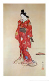 Lady In Red Print by Kyosai 