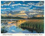 Sonnenuntergang am Seal Harbor, Maine Poster von Arthur Chartow