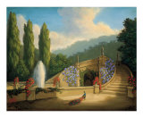 Garden with Peacock and Fountain Plakat af Tim Ashkar