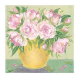 Yellow Vase Peonies II Print by Patricia Roberts
