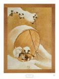 Welpen im Schnee Poster von Katsushika Hokusai