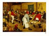 Banquete nupcial en un pueblo Lámina por Pieter Bruegel the Elder