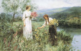 Gathering Flowers Prints by Henry John Yeend King