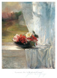 Fleurs sur le rebord d'une fenêtre Affiches par John Lafarge