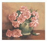 French Cottage Roses I Posters by Linda Hanly