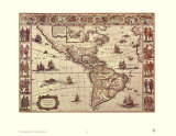 Map of North and South America Posters van Joan Blaeu