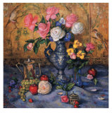 Roses with Blue Vase Prints by Francie Botke
