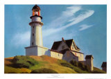 Il faro di Two Lights Poster di Edward Hopper