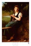 Jeune fille au tricot (1869) Poster par William Adolphe Bouguereau