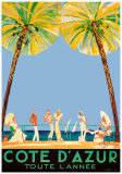Jean-Gabriel Domergue - Azurové pobřeží po celý rok, Côte d'Azur (reklamní plakát ve francouzštině) Plakát