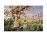 Spring, Picking Flowers Poster by Alfred Augustus Glendenning