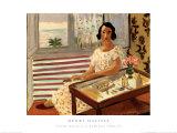 Donna seduta al tavolo della toilette Stampe di Henri Matisse