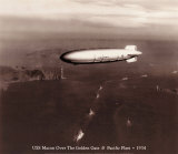 USS Macon over the Golden Gate and Pacific Fleet, 1934 Art by Clyde Sunderland
