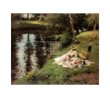 Picnic on the Riverbank Prints by Fernand Toussaint