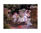 Ladies in a Garden Print by Silvia Corday