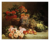 Still Life with Fruits and Flowers Print by Pierre Bourgogne